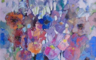 Irysy i anemony; 50x60; akryl; 2016