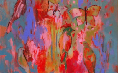 Różowe; 75x75; akryl; 2010