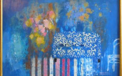 Weranda z wzorzystą kanapą; 100x70; akryl; 2010