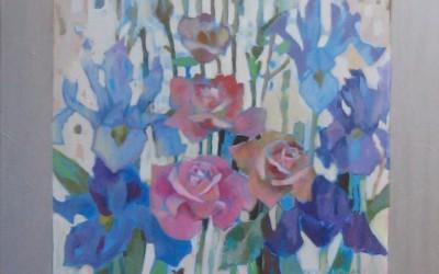 Róże i Irysy; 75X75; akryl z olejem; 2007