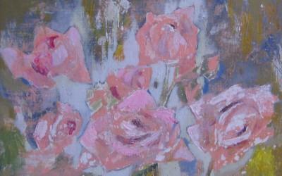 Róże; 30X40; akryl; 2014