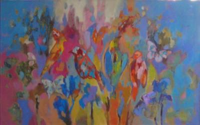 Ptaki; 75X125; akryl z olejem; 2002