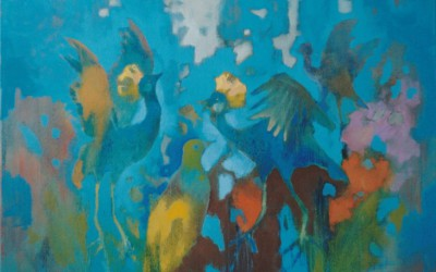 Tańczące Żurawie III; 80x100; olej; 2000